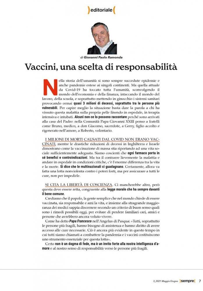 Editoriale Sempre magazine maggio giugno 2021