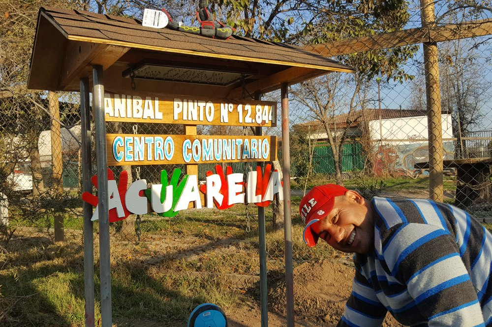 Cartello entrata del Centro comunitario Acuarela