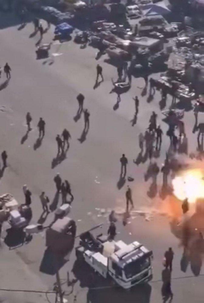 Il momento dell'esplosione visto dall'alto