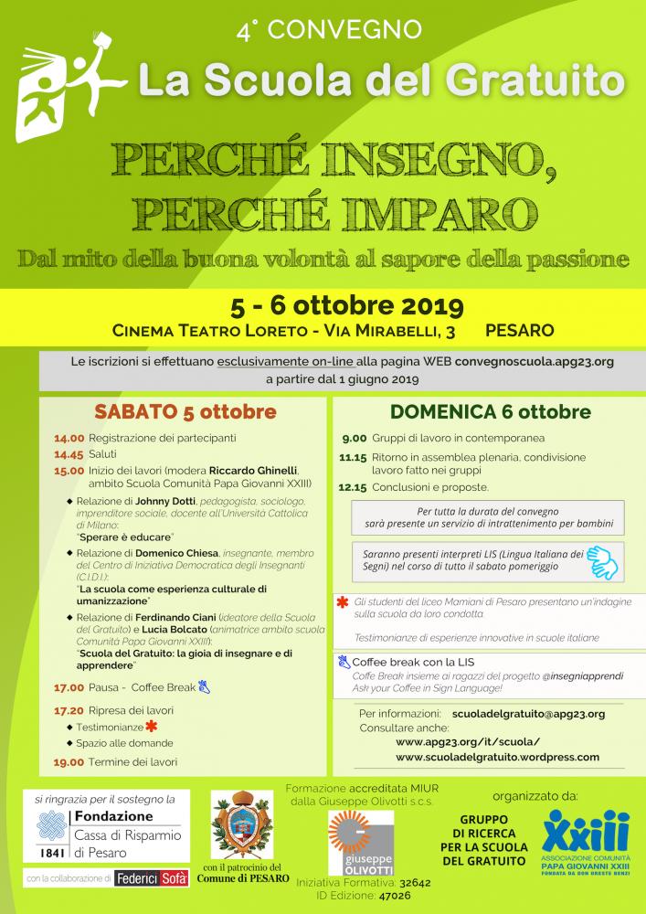 Locandina Convegno scuola del gratuito Pesaro