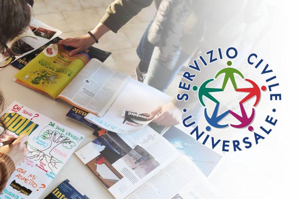 rassegna stampa e logo del servizio civile universale
